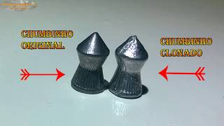 Forma para fazer chumbinhos de armas de pressão artesanal.