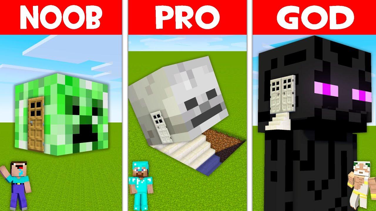 Minecraft NOOB vs PRO vs GOD: MONSTER HEAD BLOCK BASE! HEAD BLOCK HOUSE! (Animation)
