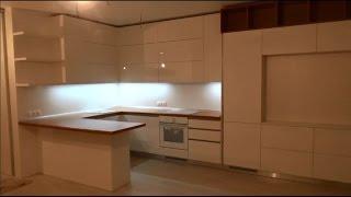 Кухня с фурнитурой Blum Часть 2 Установка кухни, профиль Gola, встроенный холодильник