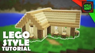 Minecraft | LEGO Style Tutorial | Small Starting Survival House (14x15)