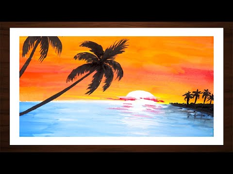 Sunset in the Ocean | Watercolor Painting | Easy Landscape Painting