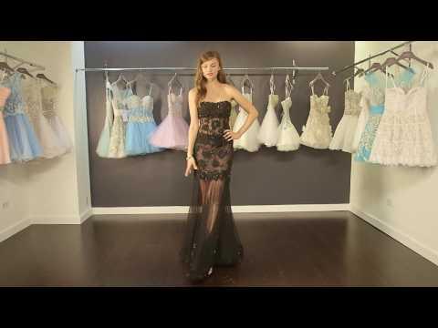 black-transparent-lace-dress- -prom-dress-video