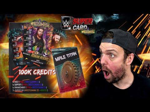 HUGE 100K CREDIT WRESTLEMANIA 34 TIER PACK OPENING - NEW MALE TITAN PACK - WWE SuperCard Season 4