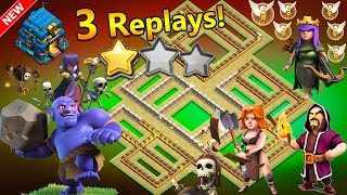 🔥3 REPLAYS!🔥NEW TH12 WAR BASE 2018 ANTI 2 STAR Anti Everything BoWitch,Miner,Anti Queen Walk,Hog