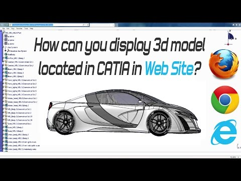 How can you display 3d model located in CATIA in web Site?