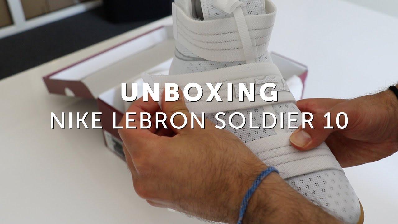 fc2f7ae623c Unboxing  Nike LeBron Soldier 10 (White Gum) - YouTube