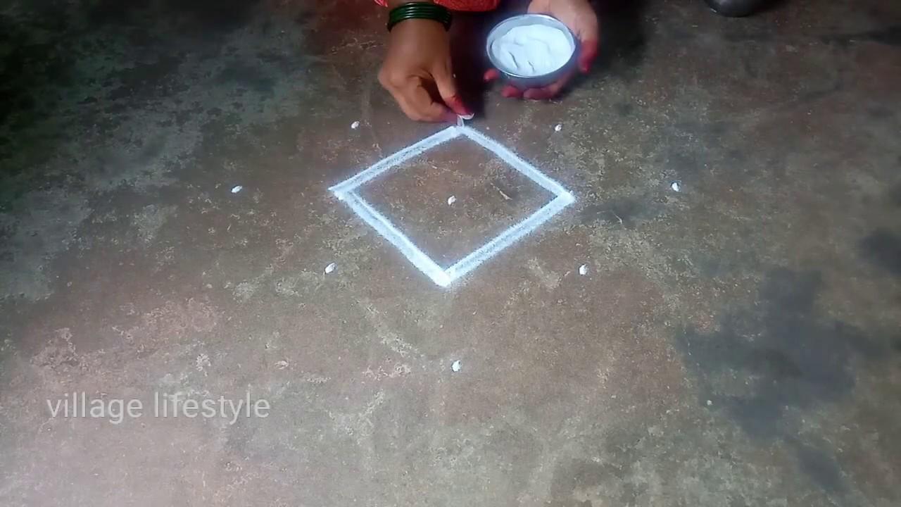 Aadi madam special//flowers PADI Kollam//pandaga muggulu//village lifestyle// easy rangoli//01