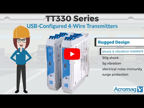 Acromag TT330 Series 12-32V DC Isolated Power, Universal Current/Voltage Output 4-Wire Transmitters