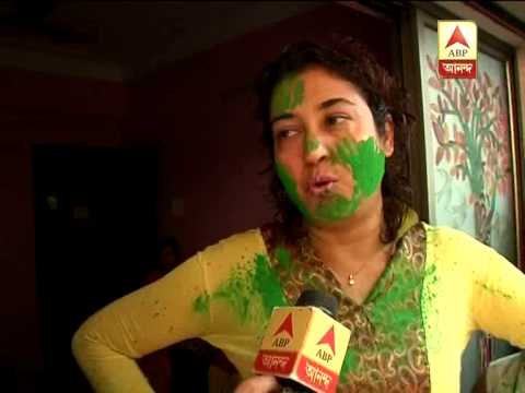 TMC candidate Shatabdi Roy celebrates dol at her house