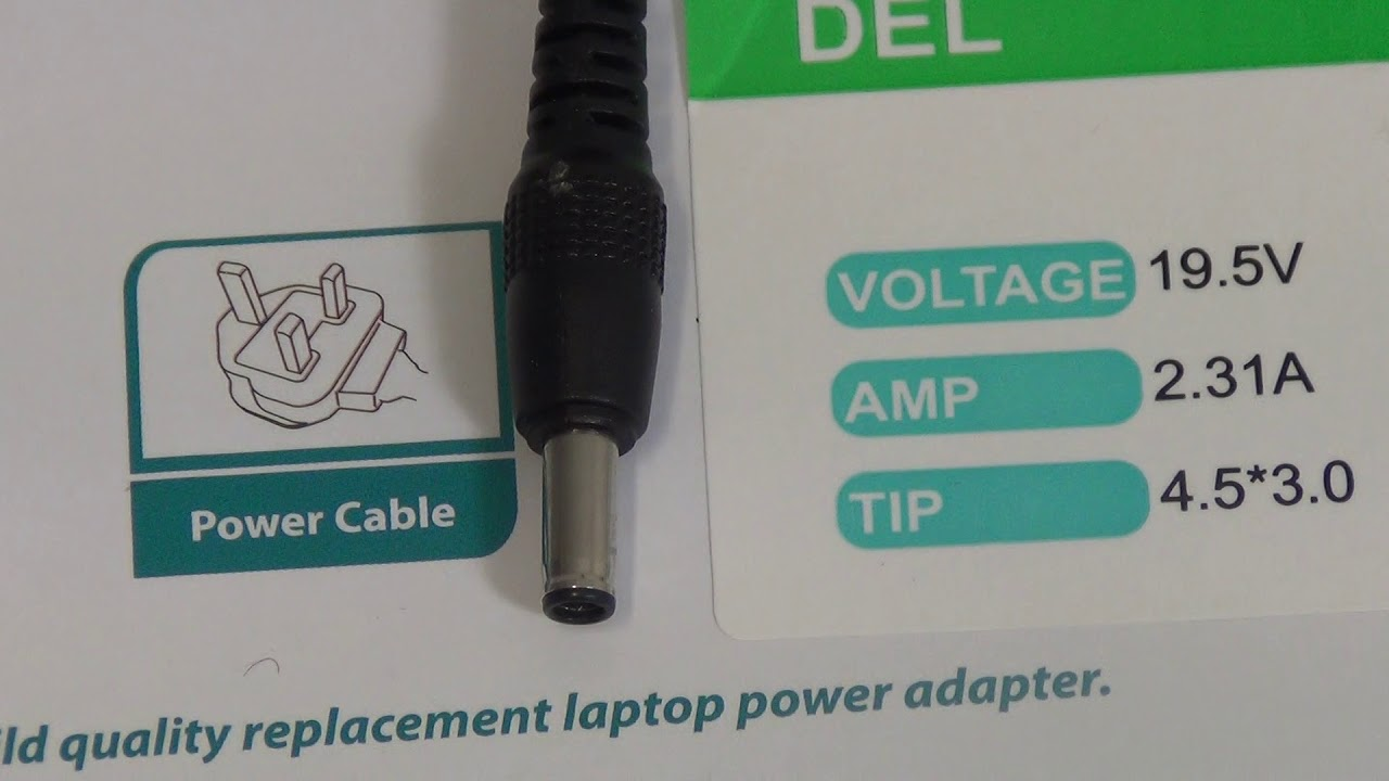45W Dell Laptop Charger (19.5V ~ 2.31A, 4.5 x 3.0mm DC Jack) - YouTube