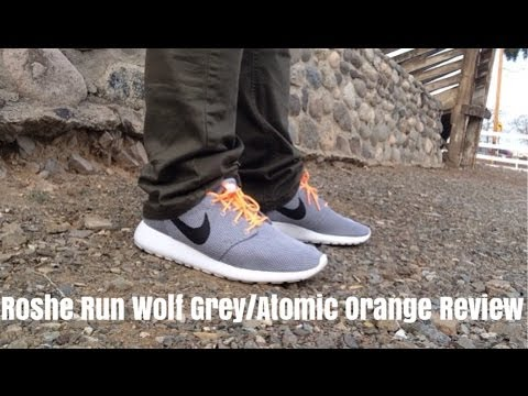b29bfba17f90 Nike Roshe Run Wolf Grey Atomic Orange Review + On Feet - YouTube
