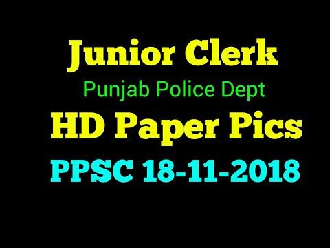 PPSC Junior Clerk Paper Today 18-11-2018   Punjab Police Department