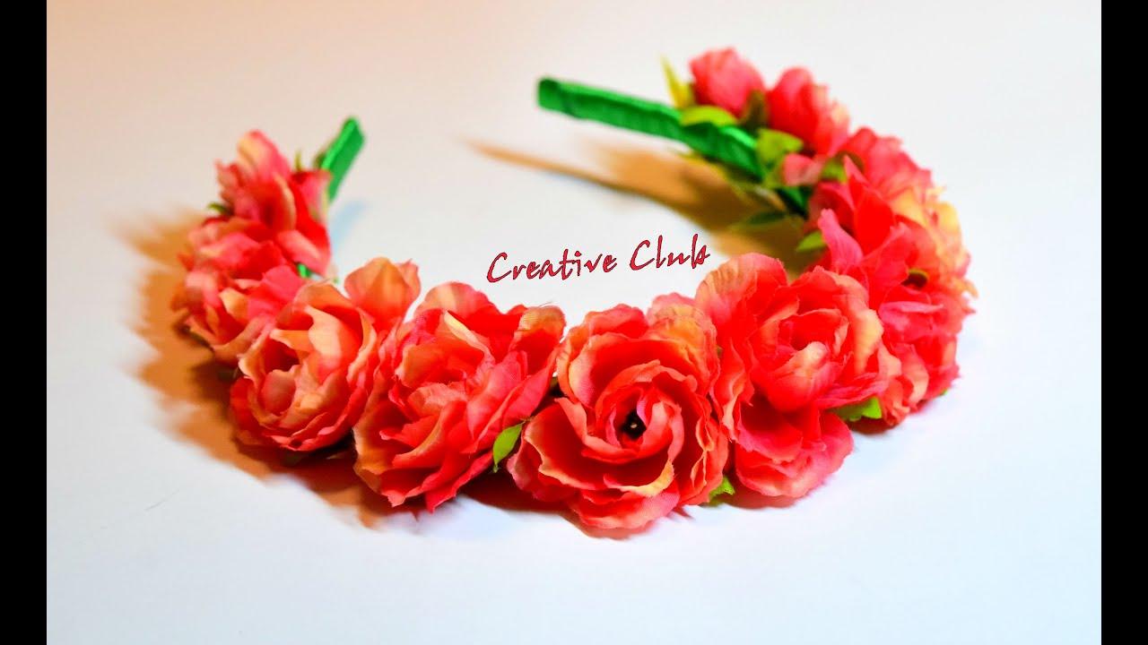 Как сделать самому ободки с цветами