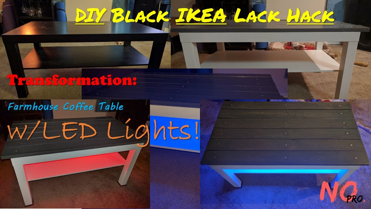 black ikea lack hack transformation farmhouse coffee table w led