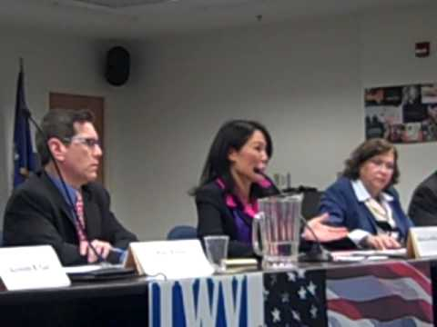 Fairfield Board of Education Republican candidate, Eileen Liu-McCormack, answered a question on the availability of testing information and school performances to the public. This took place at the Fairfield League of Women Voters debate on Monday.