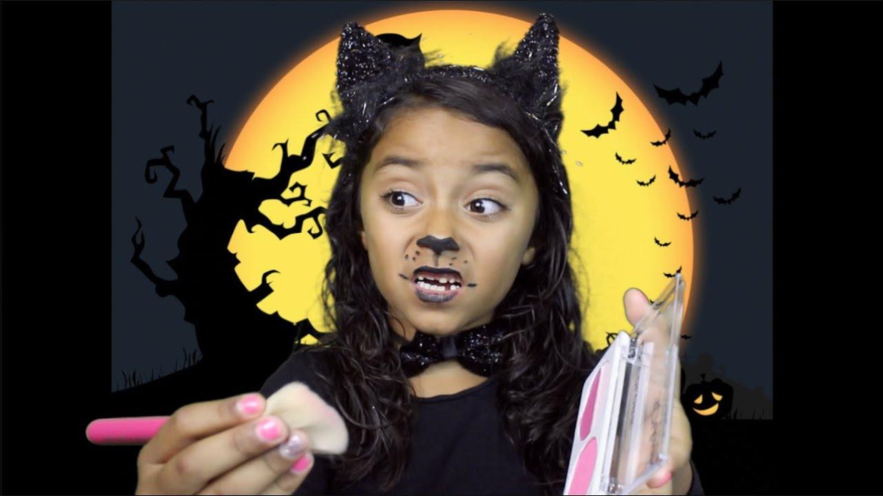 Halloween KITTY CAT Makeup Tutorial 7 YEAR OLD - YouTube