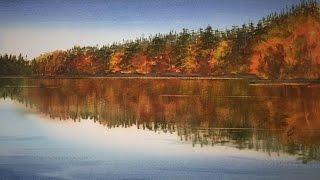 Рисуем Елки, Отражения акварелью.Осень в Швеции.  Autumn in Sweden- Reflections, watercolour