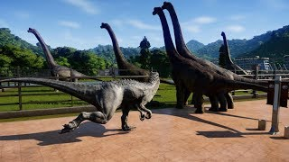 Jurassic World Evolution - 5 Brachiosaurus & 2 Indominus Rex Breakout & Fight! (1080p 60FPS)