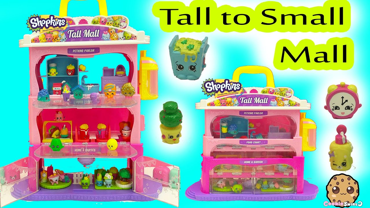 Shopkins Tall Mall Playset From Big To Small With Season 5 Shopkins Exclusives Youtube