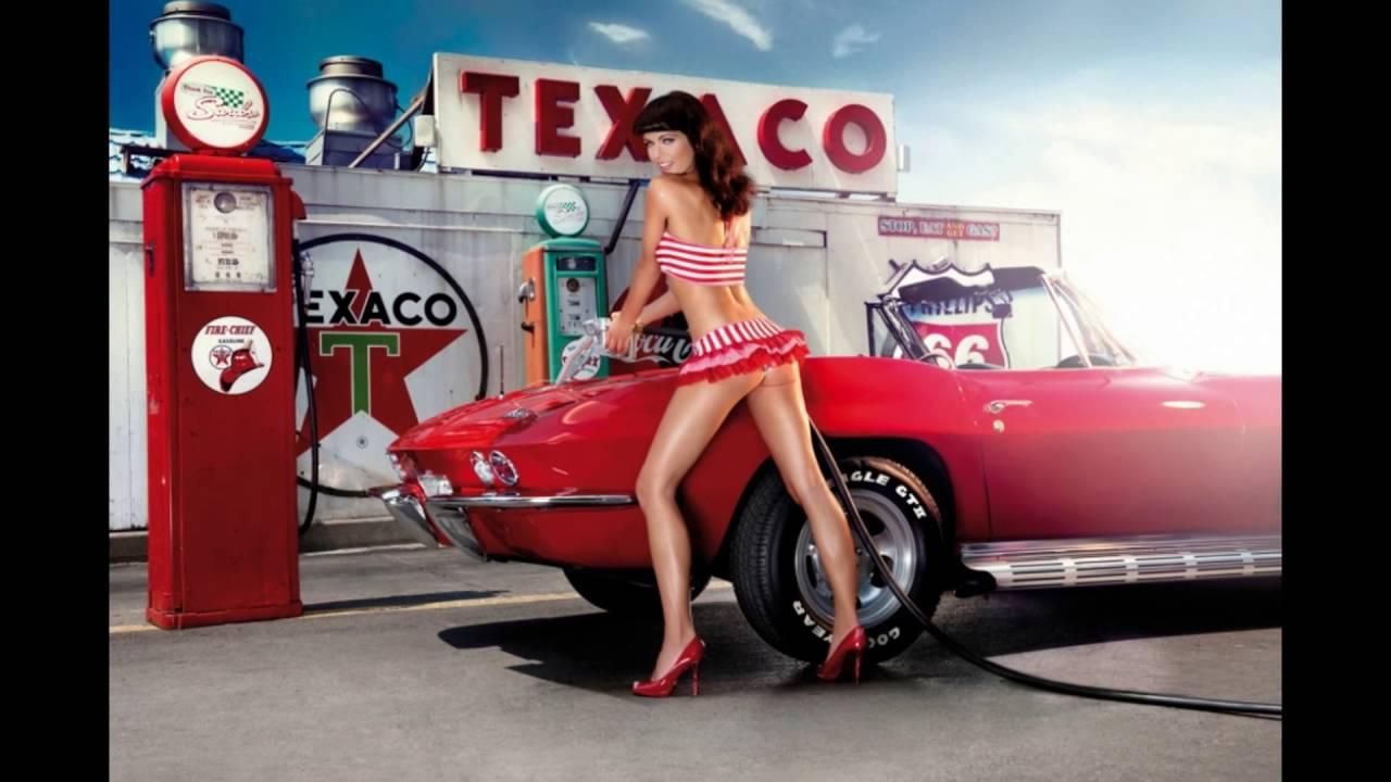 Pin up girl and car