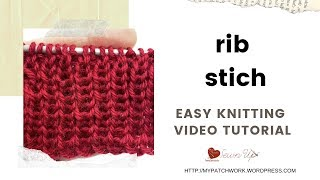 Rib stitch - easy video tutorials for beginners