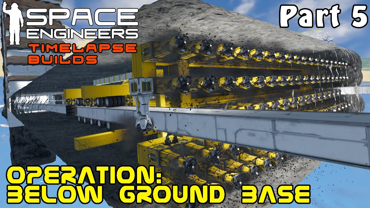 Space Engineers Timelapse Build - Operation Below Ground Base: Rotor Wheel Drilling Rig- Part 5
