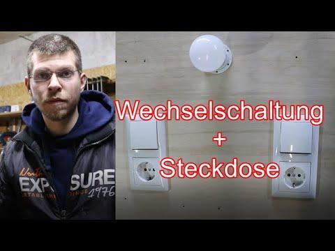 Wechselschaltung verdrahten / Schalter-Steckdosen-Kombi