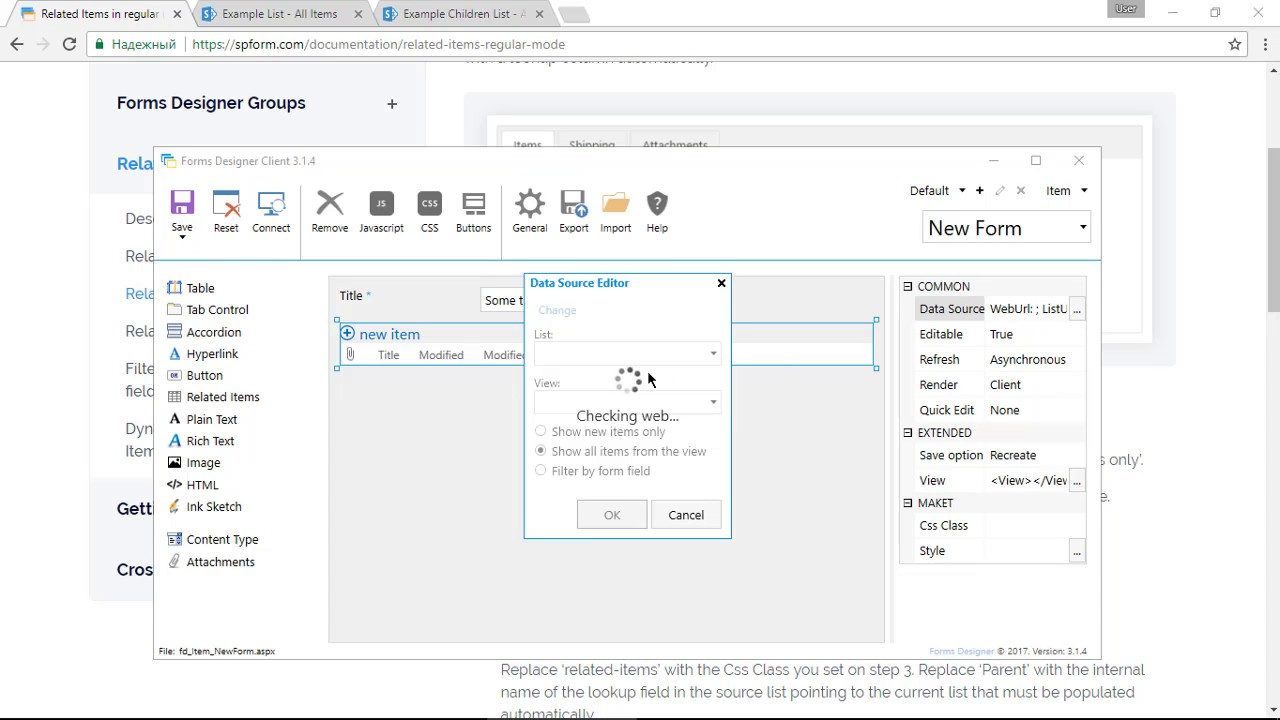 Creating SharePoint form with child items from another list
