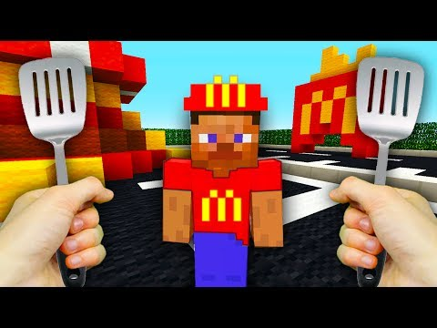REALISTIC MINECRAFT  STEVE WORKS AT McDONALDS!🍟