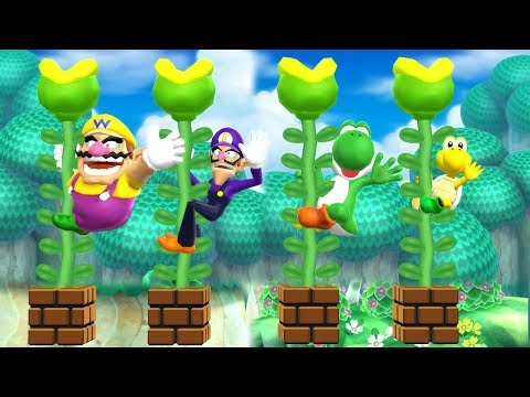 Mario Party 9 Garden Battle - Wario vs Waluigi vs Yoshi vs Koopa| Cartoons Mee