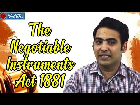 CA Inter | CMA Inter | The Negotiable Instruments Act 1881 (Bill of Exchange) | Law Lectures