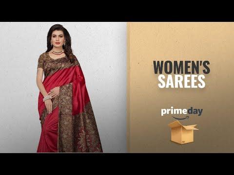 Women\'s Sarees Prime Day 2018: Mrinalika Fashion Women\'s Art Silk Saree With Blouse Piece