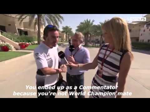 Fernando Alonso comes to Johnny Herbert about his comments suggesting the Spaniard should retire.