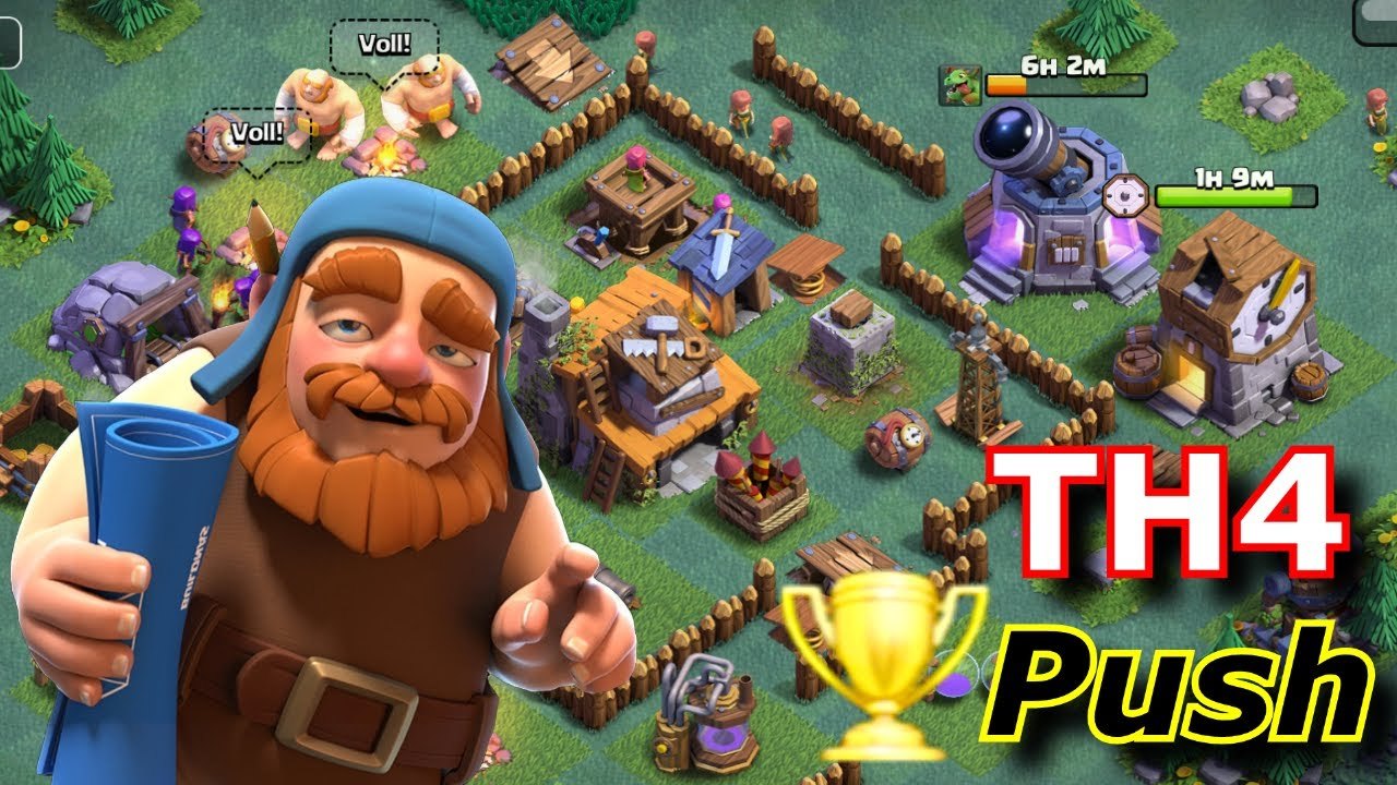 Clash Of Clans Th4 Bauarbeiter Dorf Trophy Push Youtube