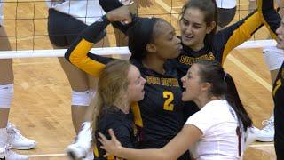 ASU women's volleyball upsets No. 21 WSU in five-set thriller
