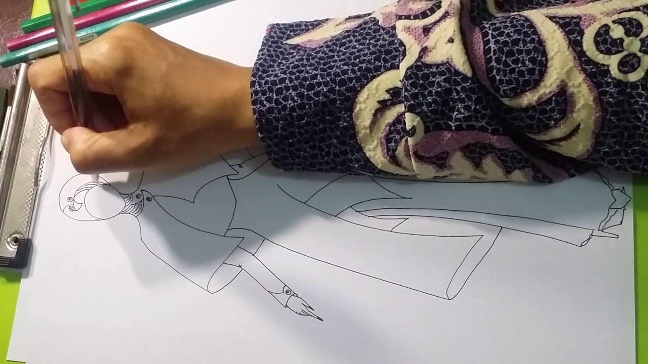 Menggambar Desain Baju Muslim Drawing Fashion Design