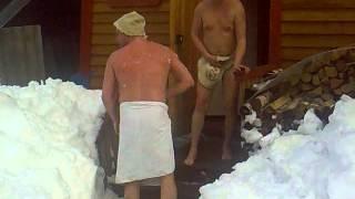 самый смешной прыжок из бани в снег