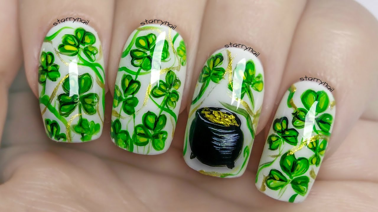 Easy Shamrock Nails For St. Patrick\'s Day ⎮ Freehand Nail Art ...