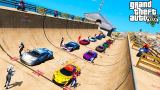 Twenty Spider-Mans collection cars on the Ramps get more challengers Superheroes GTA V MODS