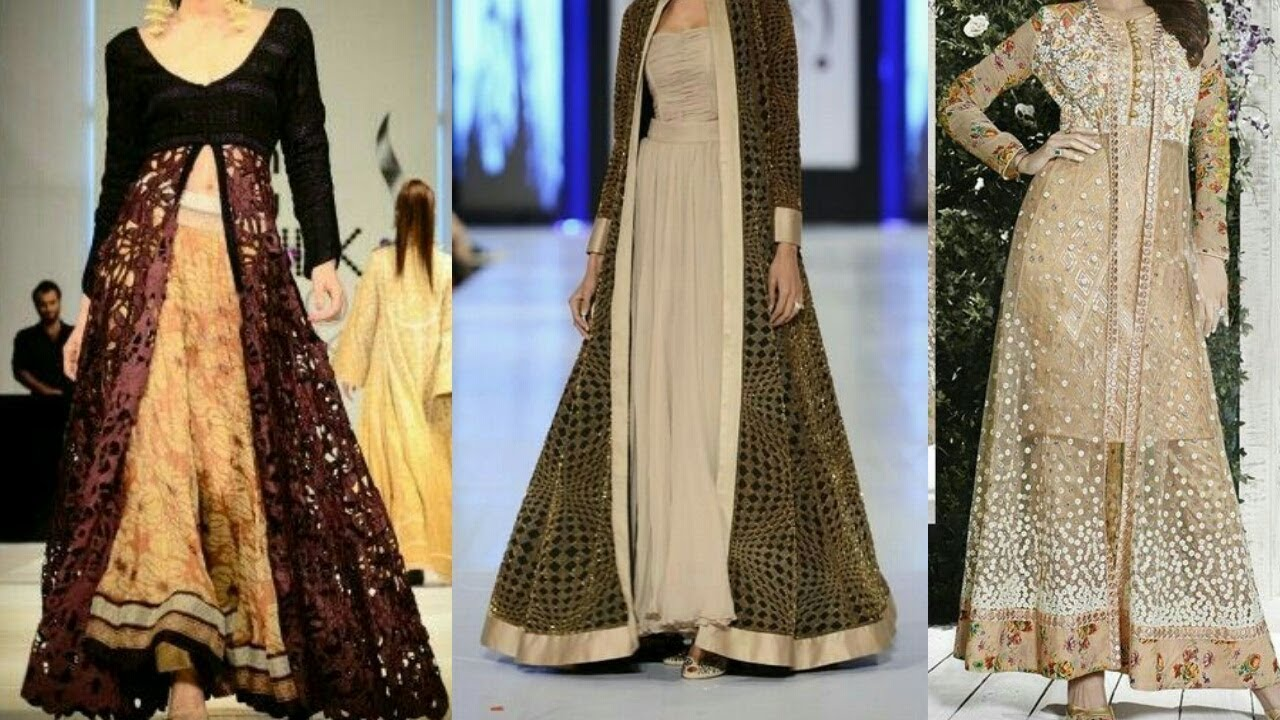 Stylish & Beautiful Front Slit Double Shirt Gown/ Party Wear, Mehndi ...
