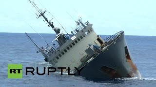 RAW: Ship sinks in Atlantic Ocean, crew rescued by ‪Sea Shepherd‬ activists