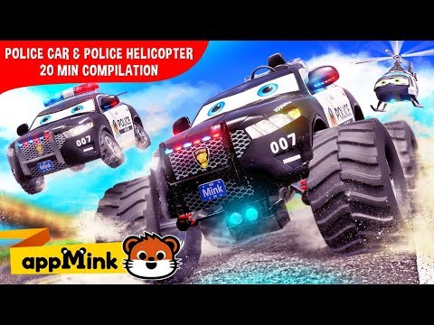 Mink Kids Cartoon Fun With Police Car Monster Truck Helicopter