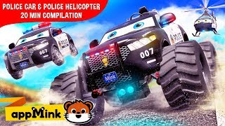 Download appMink kids cartoon – Fun with Police Car,  Monster Truck & Police Helicopter Mp3 and Videos