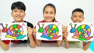 KuMin Kids Go To School Learn Coloring Rainbow Snail at Classroom Funny