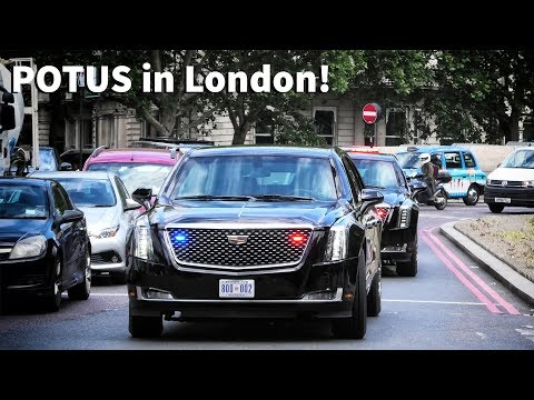 US Presidential Motorcade in London - Secret Service, police & NEW Beasts! (2019)