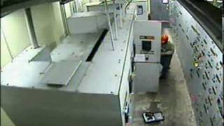 Electrical plant-room explosion caught on tape.flv