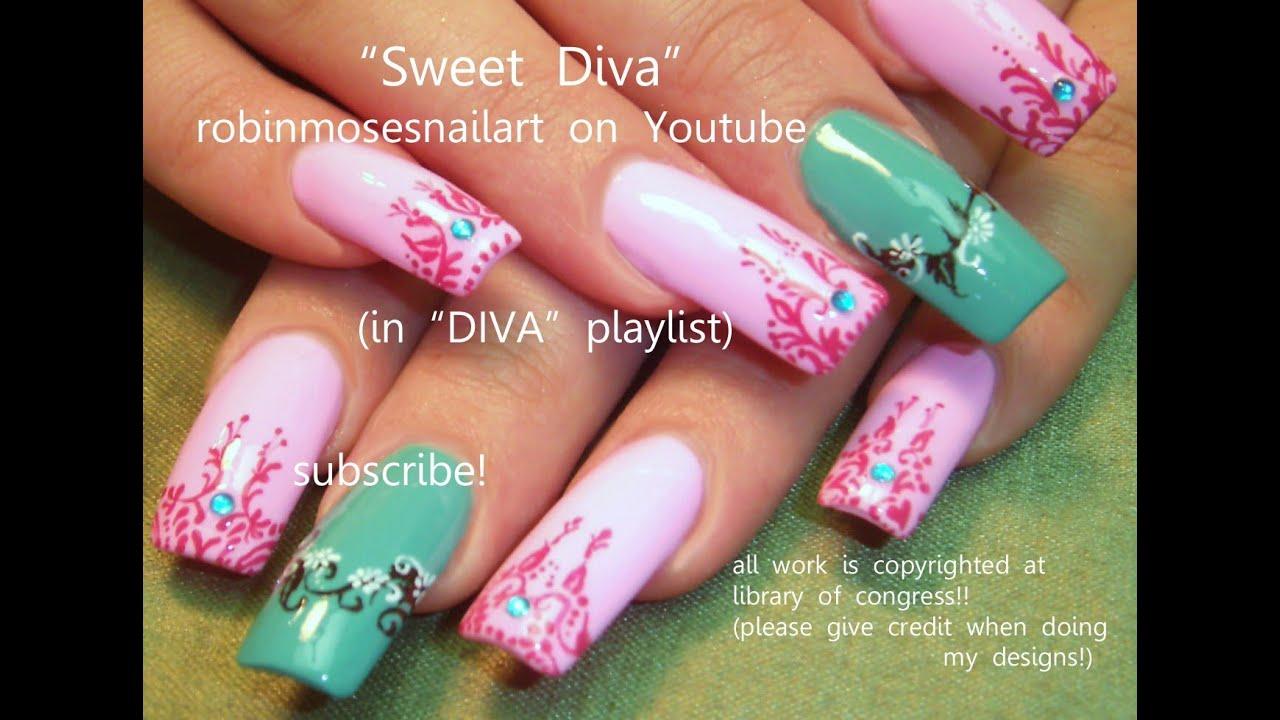 2 Nail Art Tutorials   Long Nail Design   Pink and Teal Henna Nails ...