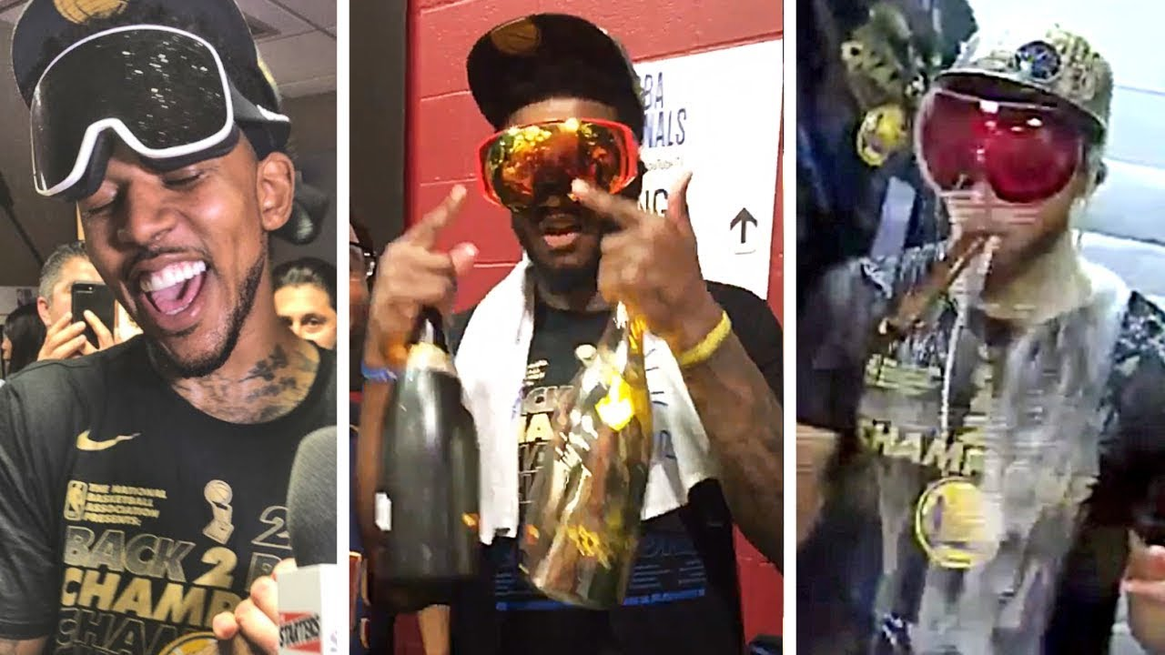 warriors-players-are-hyped-after-winning-nba-championship-get-drenched-in-champagne