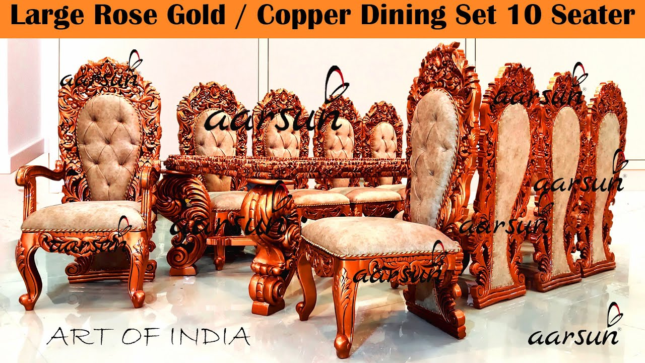 #273 Luxurious Rose Gold Copper Dining Set 10 Seater Double Carving @Aarsun - Art of India