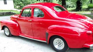 1947 Ford Super Deluxe Coupe Viper Red Custom Street Rod - Start up and Drive